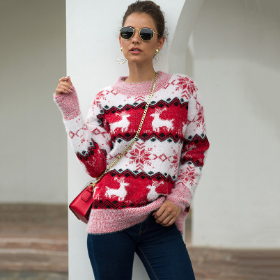 Autumn Winter Christmas Women Jumper Ladies Warm Sweater With Deer Thick Knitted Sweaters