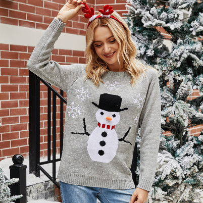 Women's Christmas Sweater Knitted Jumpers for Ladies Cute Snowman Snowflake Pullovers
