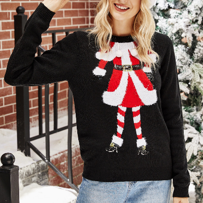 2020 Christmas Winter Knitwear for Woman Female Black Pullover Tops Santa Claus Sweater