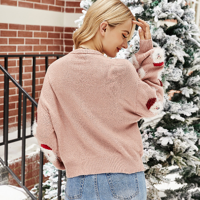 2020 Women's Sweaters Loose Knitted Lantern Sleeve Santa Claus Jumpers Female Oversize Pullovers