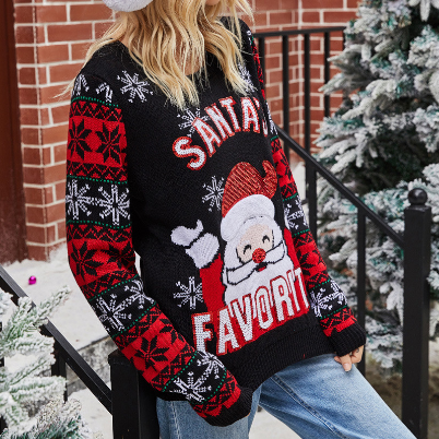 Women 2020 Knitted Sweater Christmas Sweater Santa Claus Embroidery Round Neck Long Sleeve Knit Top