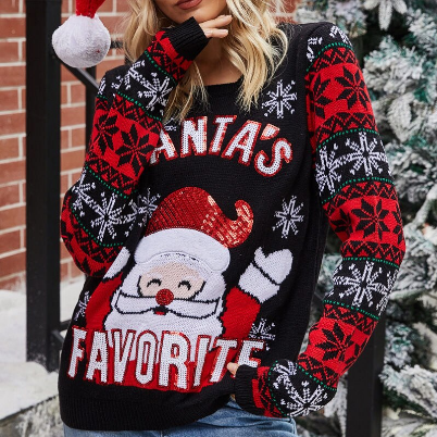 Ugly Christmas Jumper Sweater Autumn Winter New Santa Claus Jacquard Knitted Pullover Sweaters Tops