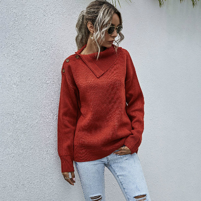 Women's Casual Shoulder Button Half-Open Collar Sweater