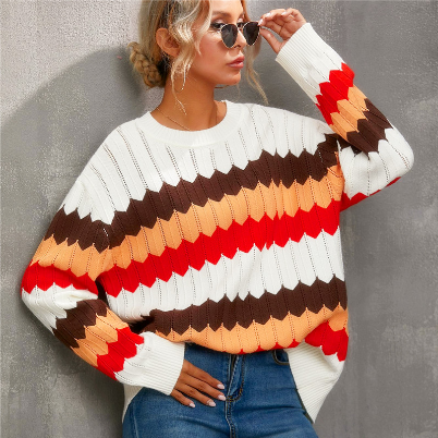 Striped Sweater Color Matching Wavy Pattern Knit Pullover Sweater Casual Women's Autumn Winter Top