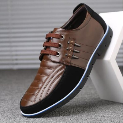 Men genuine leather shoes Elastic band Fashion design Solid Tenacity Comfortable Men's shoes