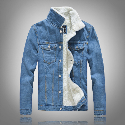 Men's Denim Jacket Warm Winter Casual Bomber Male Korean Style cowboy Jacket