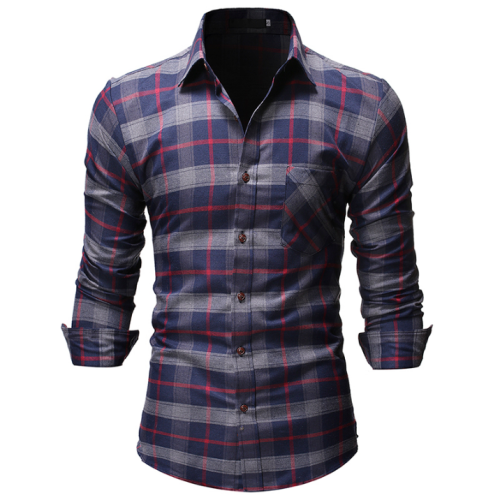 Long sleeve Blouse Male Grid Men Shirts Plaid Business Formal Check Men's Shirt