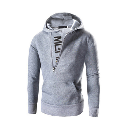 Hoodie Oblique Zipper Patchwork Hoodies 2020 Autumn Men Fashion Tracksuit Male Sweatshirt