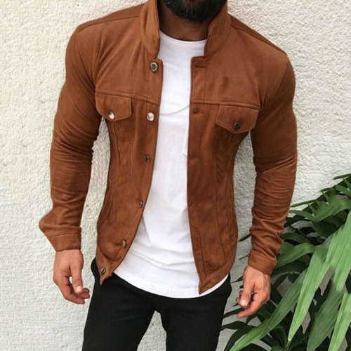 Men's Leather Jacket Casual Fashion Stand Collar Motorcycle Jacket Men Slim Style  Leather Jacket