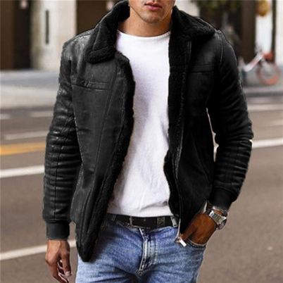 Winter Men's Faux Leather Jackets And Coats Fleece Lined Warm Parkas Thicken Thermal Faux Fur Overcoat