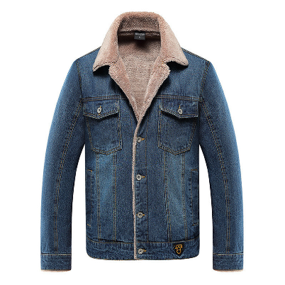 2021 Men's Winter Denim Jackets Thick Fleece Jean Jackets
