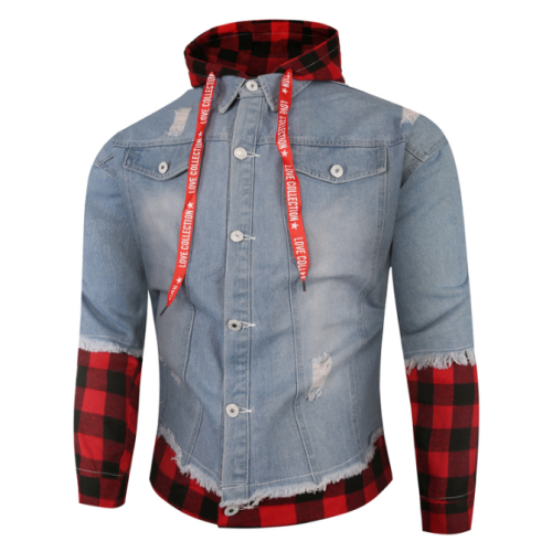 Spring and autumn jacket men's new casual street windproof denim jacket men's stitching jacket