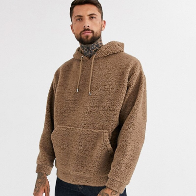 New Youth Trendy Brand Sweatshirt Hooded Pullover Plush Casual Long-sleeved Top Men's Clothing