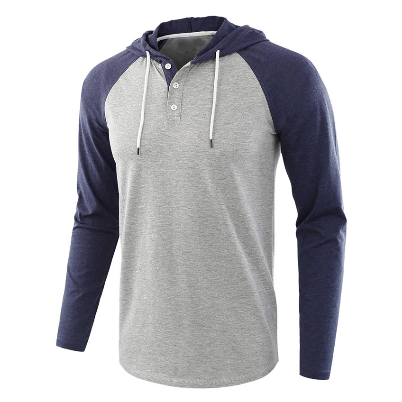 Men's Long Sleeve Hip-hop Hoodies Raglan Sleeve Male Henley Colalr Hoodies