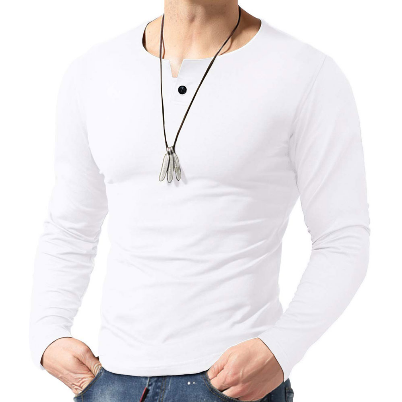 T-Shirt Men Full Sleeve Solid Color T-shirts Tops Casual Buttons Crew Neck Pure Color Shirts Tops