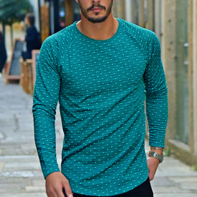 Men's Clothing Round Neck Polka Dot Slim Long-sleeved T-shirt Men