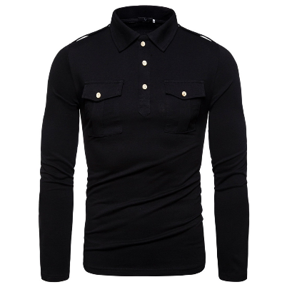 2021Spring Autumn Fashion Men Casual Long Sleeve Polo Shirts Cotton Pockets Men's Outwear Shirts Business Streetwear Shirts