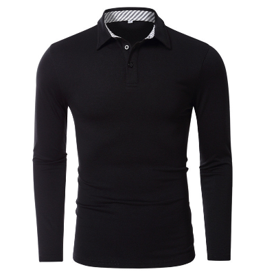 men's long sleeve polo shirts Solid color slim casual basis Polo Shirts men tops