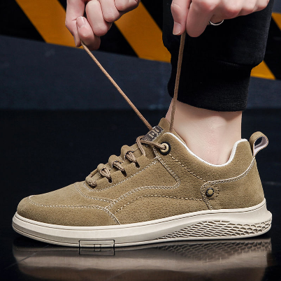 Men's Shoes Fashion Faux Suede Round Toe Lace Up Flat Wear Casual Shoes Outdoor Sports Men's Shoes