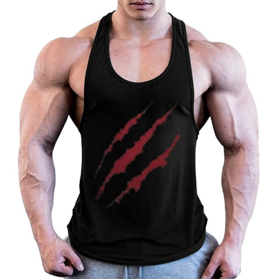 Fitness Men Muscle Print Sleeveless Bodybuilding polyester fabric cotton Spandex Tight-drying Casual Blouses