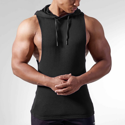 Brand hooded tank top men gym fitness vest solid bodybuilding shirts mens singlet sportswear running sleeveless vests