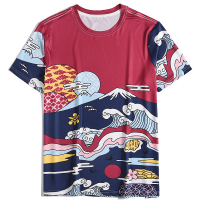 2021 summer new men's casual short-sleeved men's T-shirt creative 3D printing loose O-neck T-shirt