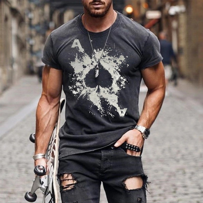 2021 Summer Hot Sale Short Sleeve Top Men's Casual Fashion Spades A Print Round Neck T-shirt
