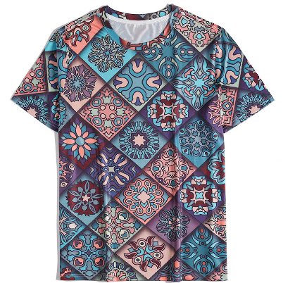 2021 Summer New Men's Casual Short-Sleeved Men's T-Shirt Hot Style 3d Universe Starry Blue Earth Short-Sleeved T-Shirt