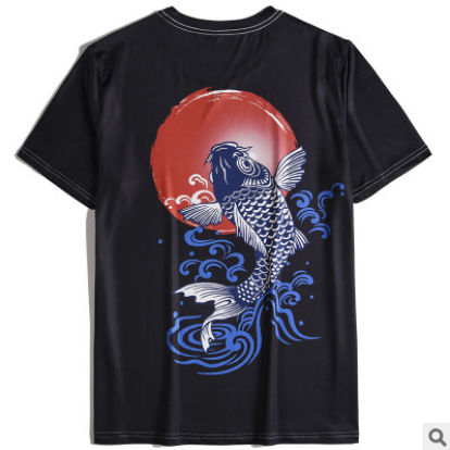 New Japanese Streetwear Hip Hop Koi Printed T Shirts Summer Men Women Tshirt