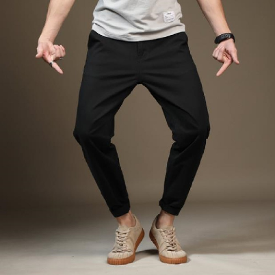 Men's oversize casual pants European and American fashion pure color Haren small foot pants