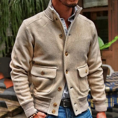 Stand Collar Single-Breasted Jacket Men Autumn Spring Khaki Casual Men's Coat