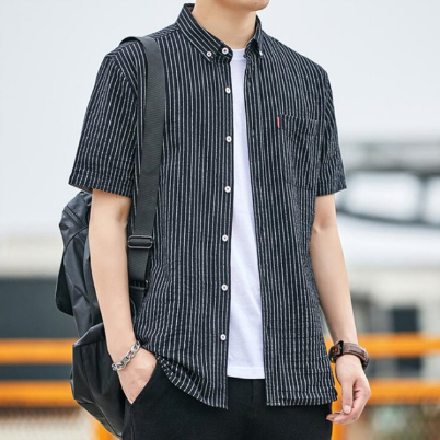 Summer shirt Men's short sleeve Korean version of the trend stripes loose short sleeve casual shirt