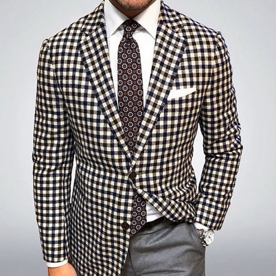 Men's Blazer Jacket Plaid Suit Coat Male Slim Fit Dress Prom Tops Clothes Man Spring Autumn Casual Blazers