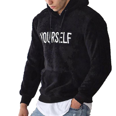 2021Gothic Men Cotton Fleece Hoodies Letter Print Sweatshirt Long Sleeve Wool Top Winter Clothes Male Sweatshirt