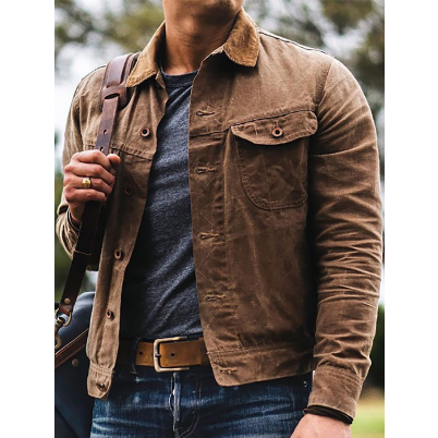 Spring and autumn hot style men's casual trend cardigan lapel jacket
