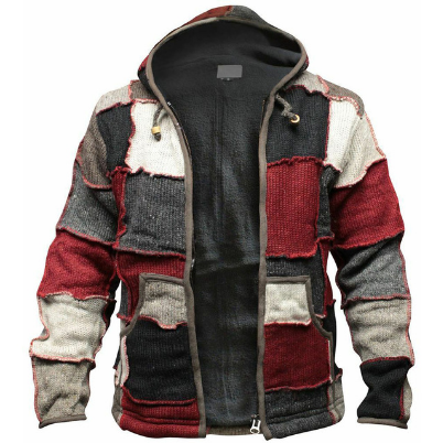 Retro Men Distressed Stitching Cardigan Sweater Autumn Winter Casual Hooded