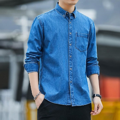New denim cotton long sleeve shirt Japanese style fresh casual shirt
