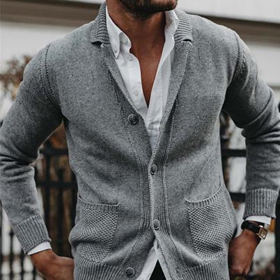 Classic Solid Color Men's Simple Fashion Slim Knit Sweater Long Sleeve Cardigan Jacket