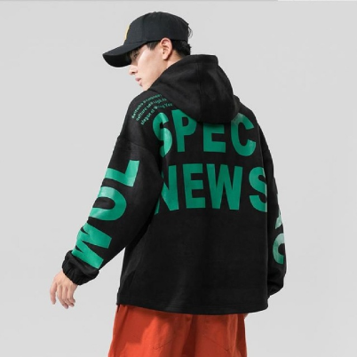 2021 Korean version trend loose top fall with hat men's personalized printed casual sports hoodie