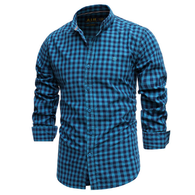 2021 New Spring 100% Cotton Plaid Shirt Casual Slim Fit Men Shirt