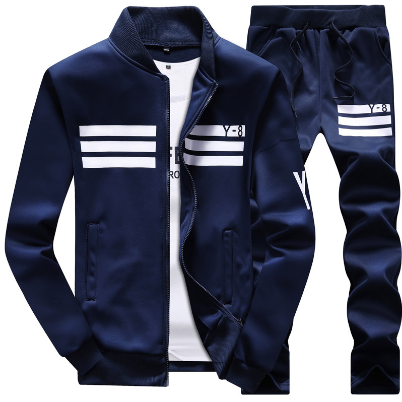 Mens Set Casual Fleece 2 Piece Sets Sweatshirt + Pants Male Tracksuit Sporting Sweat Suits