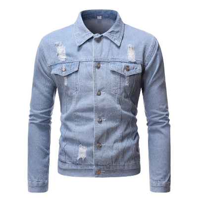 Men's Denim Jacket Frayed Retro Denim Jacket Street Casual Pilot Harajuku Fashion Hole Slim Fit Sky Blue Men's Jacket