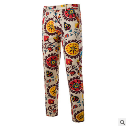2021Men's Fashion Pants Casual Multicolor men Trousers Floral print Night Club Pants Straight Trousers