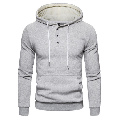 2021 New Fashion Button Collar Hoodied Mens Sweatshirts Solid Color Man Hoody Hoodies