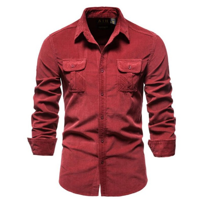 2021 Men's Shirt Single Breasted Cotton Business Casual Shirt Fashion Solid Color Corduroy Men Autumn Shirts