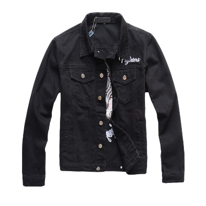New Style Men's Male Autumn Winter Street Fashion Brand Black Denim Tiger Pattern Embroidery Slim Jacket