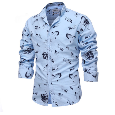 2021 Men Casual Slim Fit Mens Long Sleeve Print Shirt Fashion Mens Social Shirts
