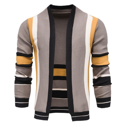 2021 New Wool Colorful Matching Quality Cardigan Men Casual Knitted Slim Sweaters