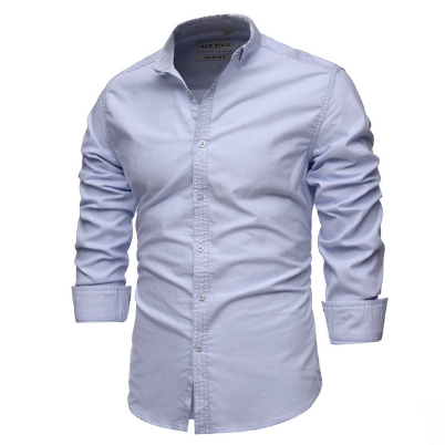 2021New 100% Cotton Oxford Shirt Men Spring Casual Men Shirt Long Sleeve Slim Fit Dress Shirts