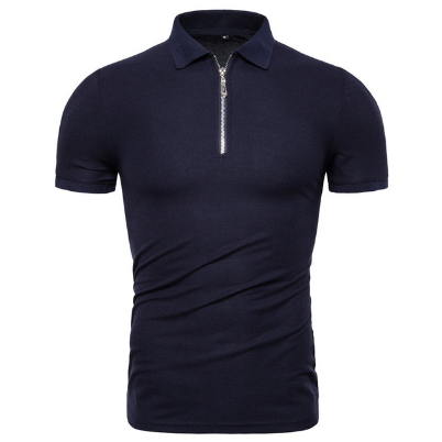 Summer Cotton Men Polos Solid Slim Fit Zipper Patchwork Polo Shirt Men Fashion Business Casual Polo